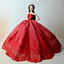 رخيصةأون ديكور الحائط-دمية اللباس الفساتين إلى Barbie تطريز دانتيل دانتيل الأورجانزا فستان إلى لفتاة دمية لعبة