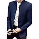 cheap Men's Blazers & Suits-Men's Daily Spring / Fall Plus Size Regular Blazer, Solid Colored Stand Long Sleeve Cotton / Acrylic / Polyester Black / Navy Blue / Wine XXL / XXXL / 4XL / Slim