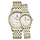 ieftine Brățări Bărbătești-Bărbați Pentru femei Ceasuri de lux Ceas de Mână ceas de aur Japoneză Quartz Oțel inoxidabil Negru / Auriu / Roz auriu 30 m Calendar Analog Modă - Negru / Argintiu Aur / argint / alb Aur / argint