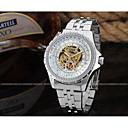 levne Pánské-WINNER Pánské Hodinky s lebkou Náramkové hodinky mechanické hodinky Automatické natahování Nerez Stříbro 30 m S dutým gravírováním Cool Analogové Luxus Klasické Vintage Na běžné nošení - Bílá Černá