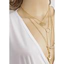 baratos Anéis Grossos-Mulheres colares em camadas - Strass Simples Dourado Colar Jóias Para Diário, Para Noite