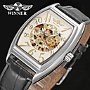 cheap Men's Watches-WINNER Men's Wrist Watch Mechanical Watch Automatic self-winding 30 m Hollow Engraving Leather Band Analog Vintage Casual Black - White Black / Stainless Steel