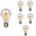 olcso Férfi órák-6db 8 W 760 lm E26 / E27 Izzószálas LED lámpák A60(A19) 8 LED gyöngyök COB Dekoratív Meleg fehér Hideg fehér 220-240 V / RoHs