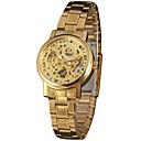 baratos Relógios Femininos-WINNER Mulheres Relógio de Pulso Gravação Oca Aço Inoxidável Banda Vintage / Casual / Fashion Prata / Dourada / Automático - da corda automáticamente