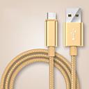 hesapli Ses ve Video Kabloları-USB 2.0 / C Tipi Örgülü Kablo Samsung / Huawei / LG için 100cm Naylon