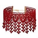tanie Zestawy biżuterii-Damskie Naszyjniki choker Koronka Kwiat damska Prosty Słodkie Czerwony Naszyjniki Biżuteria 1 Na Codzienny Wyjściowe Kostiumy cosplay