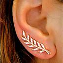 hesapli Yüzükler-Kadın's Kübik Zirconia Vidali Küpeler / Kulak Tırmanışçıları - Leaf Shape Basit, Vintage, Moda Altın / Gümüş / Gül Altın Uyumluluk Günlük / Çalışma / 2pcs