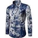 رخيصةأون ملصقات ديكور-رجالي النمط الصيني طباعة كتان قميص, مجرد ياقة مفرودة نحيل / كم طويل