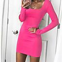 preiswerte Barfußsandalen-Damen Ausgehen Grundlegend Bodycon Kleid Solide Übers Knie Quadratischer Ausschnitt / Skinny
