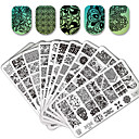 voordelige Make-up & Nagelverzorging-10/20 pcs Lace Stickers Nail Stamping Tool Sjabloon Bloem / Dier Modieus Design / Stickers / Magnetische Sticker Nagel kunst Manicure pedicure Stijlvol / Kant Feest / Avond / Dagelijks / Metaal