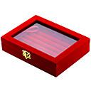 hesapli Takı Paketleme ve Gösterim-Takı Kutusu Kol Düğmesi Kutusu Dörtgen Siyah Kırmızı Kumaş