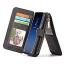 رخيصةأون حافظات / جرابات هواتف جالكسي A-غطاء من أجل Samsung Galaxy S9 محفظة / حامل البطاقات / مع حامل غطاء كامل للجسم لون الصلبة قاسي جلد أصلي
