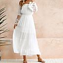 رخيصةأون شرشفات الطاولة-فستان نسائي متموج دانتيل طويل للأرض أبيض لون سادة دون الكتف مناسب للحفلات شاطئ