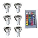 ieftine Spoturi LED-6pcs 3w 280lm gu10 rgb condus lumina reflectoarelor decorative de control de la distanță 200-240v