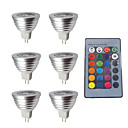 abordables LED à Double Broches-6pcs 3w 280lm mr16 rgb led ampoule télécommande ac dc 12v