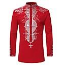 رخيصةأون قمصان رجالي-رجالي طباعة قميص, ترايبال رقبة طوقية مرتفعة / كم طويل