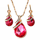 cheap Brooches-Women's Crystal Jewelry Set - Drop Sweet, Fashion, Elegant Include Drop Earrings Pendant Necklace Bridal Jewelry Sets Purple / Red / Blue For Wedding Gift