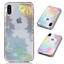 cheap iPhone Cases-Case For Apple iPhone X / iPhone 8 Plus Plating / Transparent / Pattern Back Cover Lace Printing Soft TPU for iPhone X / iPhone 8 Plus /