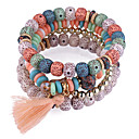 povoljno Narukvice-Rese Posude Narukvica s perlama Smola dame Europska Etnikai Moda Narukvice Jewelry Crvena / Plava / Pink Za Dnevno