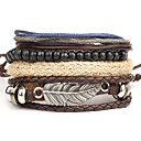 cheap Necklaces-Men's Wrap Bracelet - Leather Fashion Bracelet Brown Bowknot For Daily Street / 4pcs