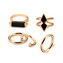 Χαμηλού Κόστους Σκουλαρίκια-Γυναικεία Πετράδι Φυσικό Μαύρο Σχοινί Δαχτυλίδι Σετ δαχτυλιδιών - Κράμα Γοτθική Λολίτα, Ροκ, Γκόθικ Χρυσό Για Εξάσκηση Βαλεντίνος / 5pcs