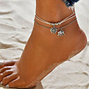 abordables Bijoux Corps-Femme Double Tour Bracelet de cheville Cuir Eléphant Soleil Fin dames Bohème Bracelet de cheville Bijoux Argent Pour Vacances Plage Bikini