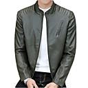 رخيصةأون كنزات هودي رجالي-رجالي مناسب للبس اليومي أناقة الشارع خريف & شتاء عادية جواكيت جلد, عصري مرتفعة كم طويل PU أسود / أزرق البحرية / أخضر داكن