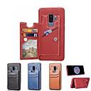 Недорогие Чехлы и кейсы для Galaxy S4 Mini-Кейс для Назначение SSamsung Galaxy S9 / S9 Plus / S8 Бумажник для карт / со стендом / Магнитный Кейс на заднюю панель Однотонный Твердый Кожа PU