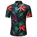 رخيصةأون قمصان رجالي-رجالي قميص شاطئ أسود US36 / كم قصير