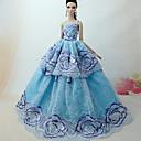 hesapli Ekran Koruyucular-Prenses Elbiseler İçin Barbie Bebek Dantel organza Elbise İçin Kız Oyuncak bebek