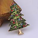 رخيصةأون القلائد-رجالي مكعب زركونيا دبابيس كلاسيكي بدل سانتا شجرة الكريسماس كلاسيكي كرتون لطيف حجر الراين بروش مجوهرات أخضر الأخضر والأحمر من أجل عيد الميلاد مناسب للبس اليومي