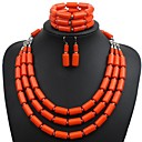 cheap Candles & Candleholders-Women's Layered Jewelry Set Resin Ladies, Stylish, Simple Include Drop Earrings Necklace Bracelet Orange / Dark Blue / Green For Daily