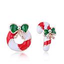 hesapli Pet Noel Kostümleri-1 çift Kadın's Uyumsuz Vidali Küpeler - Donuts Şeker Bayan Avrupa Moda sevimli Stil Mücevher Kırmzı Uyumluluk Noel Günlük