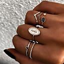 baratos Anéis-Mulheres Retro Anéis para Falanges Conjunto de anéis Anel Multidedos - Resina Sol Vintage, Punk, Boho 8 Dourado / Prata Para Presente Diário Rua / 6pcs