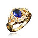 رخيصةأون خواتم-نسائي خاتم خاتم خطوبة مكعب زركونيا 1PC أحمر أزرق شفاف مطلية بالذهب عيار 18 تقليد الماس أنيق ترف رومانسي مناسب للحفلات خطوبة مجوهرات كلاسيكي