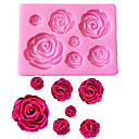 cheap Kitchen Utensils & Gadgets-Rose Flowers Shaped Fondant Silicone Mold Craft Chocolate Baking Mold