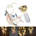 Χαμηλού Κόστους Φωτολωρίδες LED-2m Φώτα σε Κορδόνι 20 LEDs SMD 0603 Θερμό Λευκό Διακοσμητικό Μπαταρίες Powered 1set