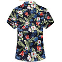 رخيصةأون كابلات HDMI-رجالي قطن قميص مقاس أوروبي / أمريكي ياقة كلاسيكية طباعة ورد, شاطئ أزرق US42 / كم قصير / الصيف