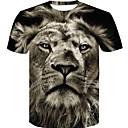 economico T-shirt e canotte da uomo-T-shirt - Taglie forti Per uomo Con stampe, 3D / Pop art / Animali Rotonda - Cotone Nero XXL / Taglia piccola