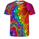 baratos Camisetas & Regatas Masculinas-Homens Tamanho Europeu / Americano Camiseta Estampado, 3D / Arco-Íris Decote Redondo Arco-íris XXXXL