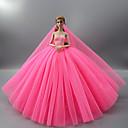 저렴한 바비인형 의상-드레스 원피스 에 대한 Barbiedoll 로즈 핑크 새틴 & 튤 드레스 에 대한 여자의 인형 장난감