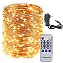 رخيصةأون أضواء شريط LED-kwb 50m أضواء سلسلة الأسلاك النحاسية بقيادة 500leds أضواء النجوم ومحول الطاقة 12v 3a والتحكم عن بعد عطلة عيد الميلاد