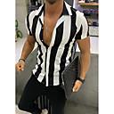 رخيصةأون قمصان رجالي-رجالي أساسي / أناقة الشارع طباعة قميص, مخطط نحيل / كم قصير