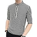 رخيصةأون قمصان رجالي-رجالي أناقة الشارع / أنيق طباعة قميص, مخطط / هندسي رقبة طوقية مرتفعة / كم طويل