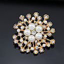 preiswerte Brosche-Damen Broschen Blume Stilvoll Künstliche Perle vergoldet Brosche Schmuck Gold Für Party Alltag