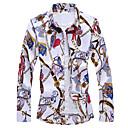 رخيصةأون قمصان رجالي-رجالي أساسي / أناقة الشارع طباعة قميص, ورد / هندسي / 3D / كم طويل