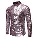 رخيصةأون قمصان رجالي-رجالي روك / مبالغ فيه قميص, لون سادة / ورد / الرسم