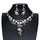 ieftine Seturi de Bijuterii-Pentru femei Alb Seturi de bijuterii de mireasă Link / Lanț Temă Florală Declarație Lux Stil Atârnat Imitație de Perle cercei Bijuterii Argintiu Pentru Nuntă Petrecere Logodnă Concediu Festival 1set