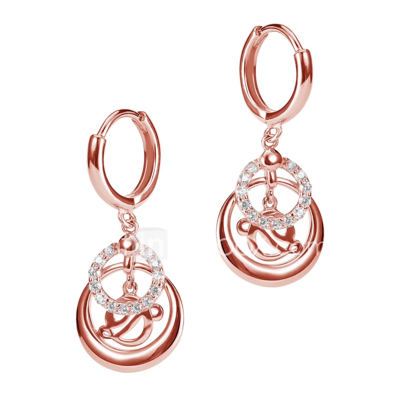 a6703343f01 Dame Flerlags Store øreringe 18K Guldbelagt S925 Sterling Sølv Øreringe  Yndig Elegant Smykker Rose Guld Til