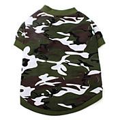 Perros Camiseta Verde Ropa para Perro Verano Primavera/Otoño camuflaje Moda